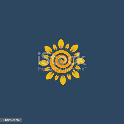 Sunflower design logotype, flower icon vector illustration