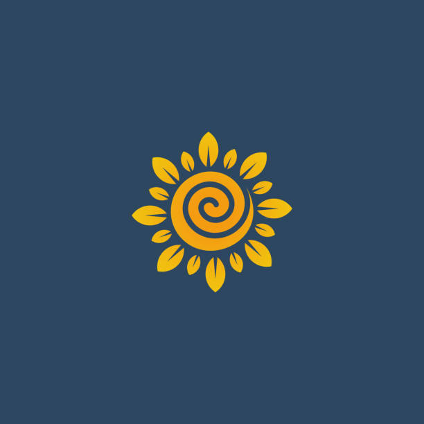 sunflower design logotype, flower icon vector illustration - sunflower stock illustrations