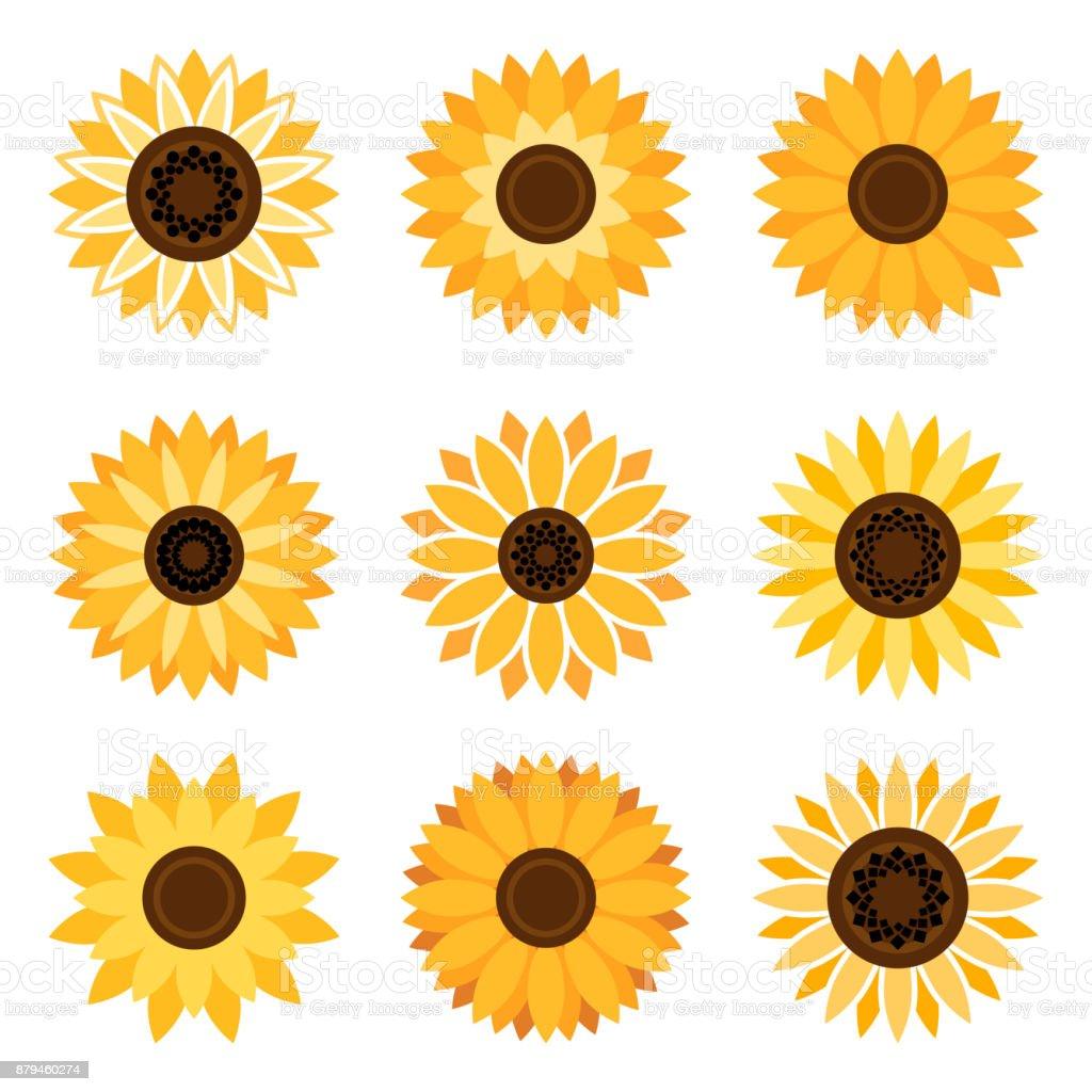 Sunflower emblem set