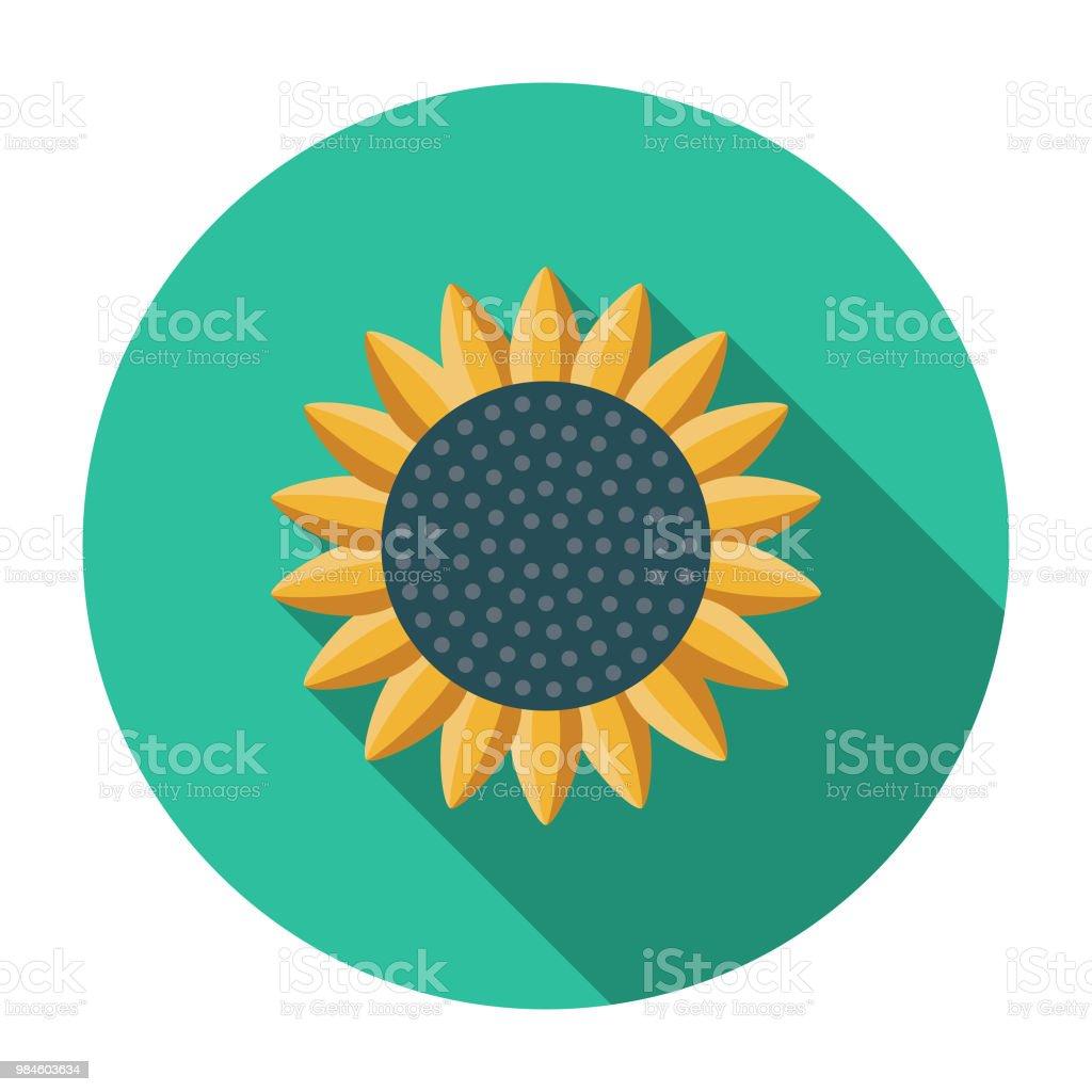 Sunflower Flat Design Agriculture Icon vector art illustration
