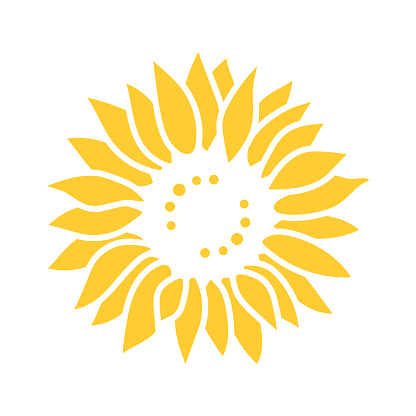 Sunflower icon, Sunflower for cutting, Flower Vector illustration