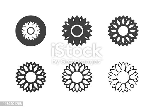 Sunflower Icons Multi Series Vector EPS File.
