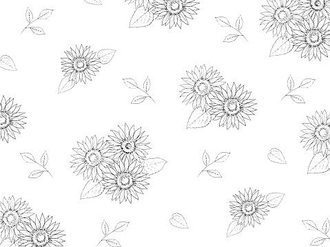 Sunflower line art  wallpaper illustration.