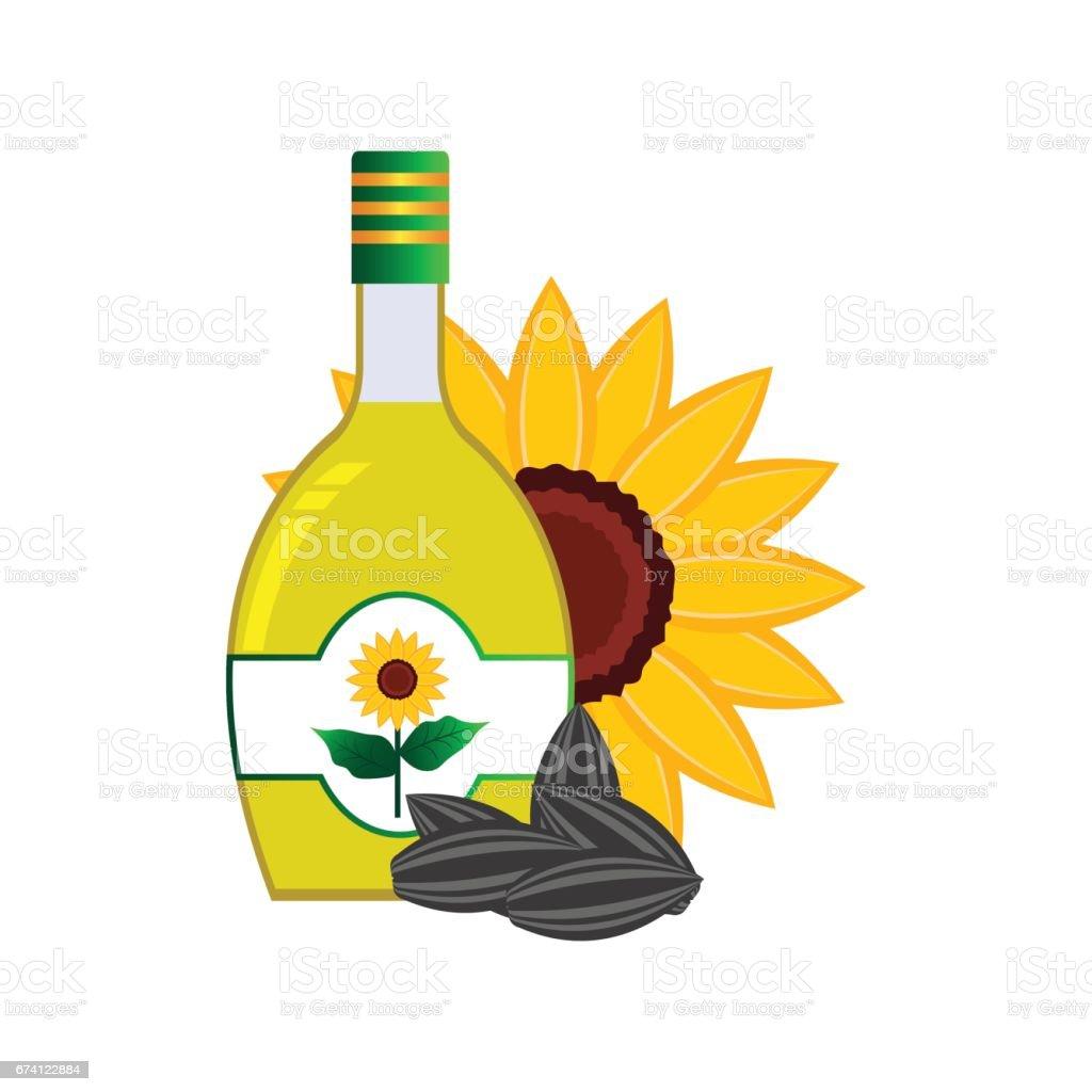 向日葵油、花、瓜子的概念在瓶子裡用花. 向量插圖 免版稅 向日葵油花瓜子的概念在瓶子裡用花 向量插圖 向量插圖及更多 helianthus 圖片