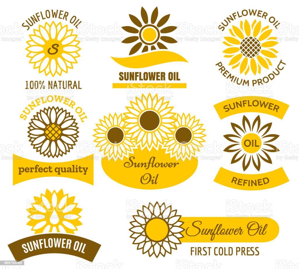 Sunflower oil logo set