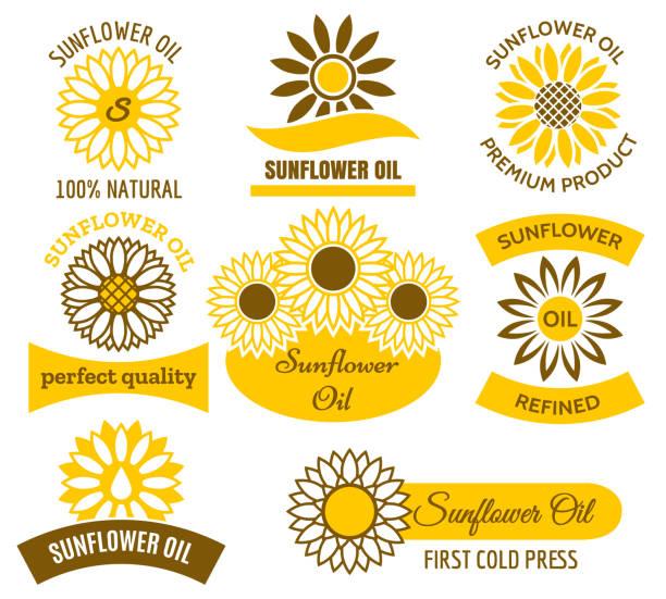 sunflower oil logo set - sunflower stock illustrations