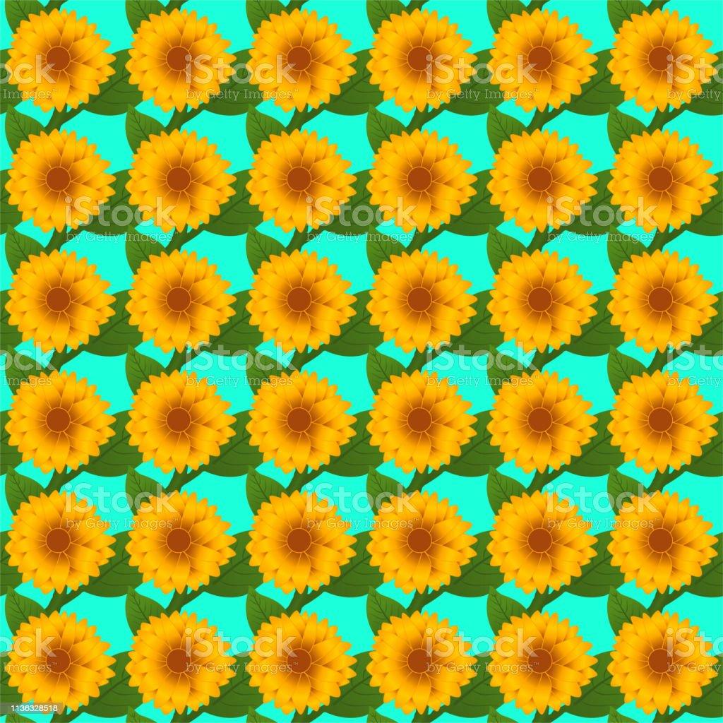 ポストカード壁紙ウェブ背景プリントやファブリックのためのひまわりシームレスベクトルパターン イラストレーションのベクターアート素材や画像を多数ご用意 Istock
