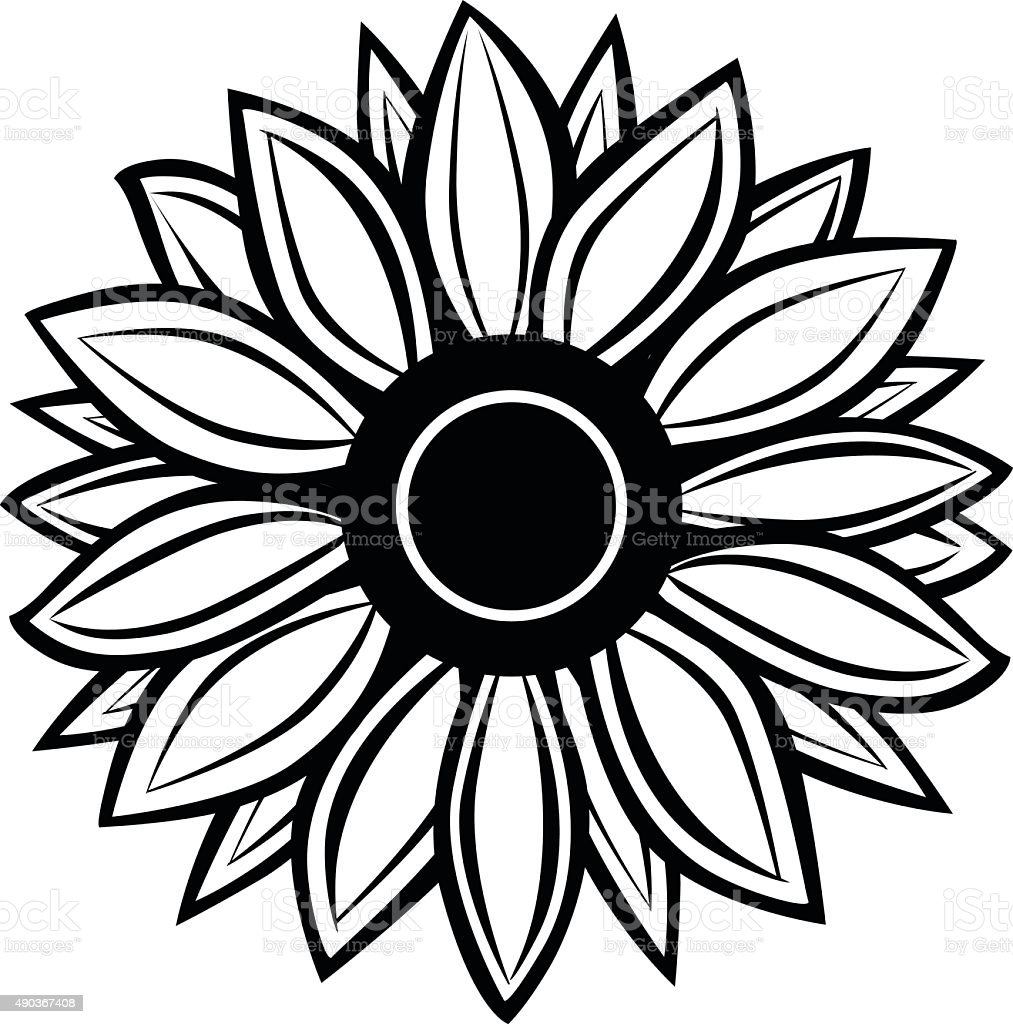 Sunflower Stock Vector Art  for Clipart Sunflower Black And White  lp4eri