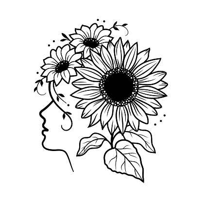 Sunflower vector. Silhouette of a girl face and a wreath of sunflowers on her head. Black and white illustration for print T-shirts, poster, card, vector illustration