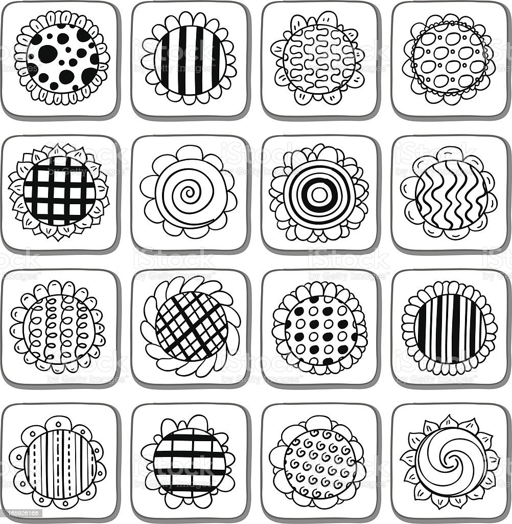 Sunflower with pattern in black and white vector art illustration