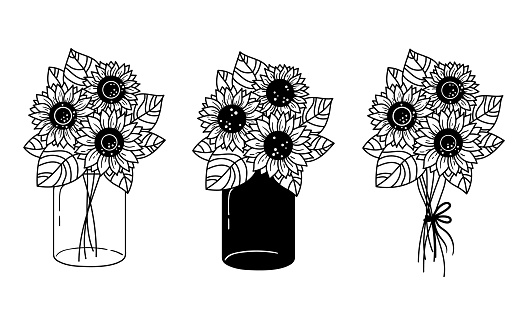 Sunflowers and mason jar isolated clipart, Black and white floral decorative elements, line wildflower and leaves, botanical design items, bouquete with sunflowers - vector illustration