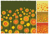 Abstract vector of colorful sunflowers field