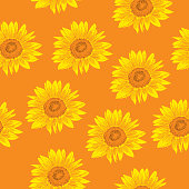 Vector seamless pattern of yellow sunflowers on an orange background.
