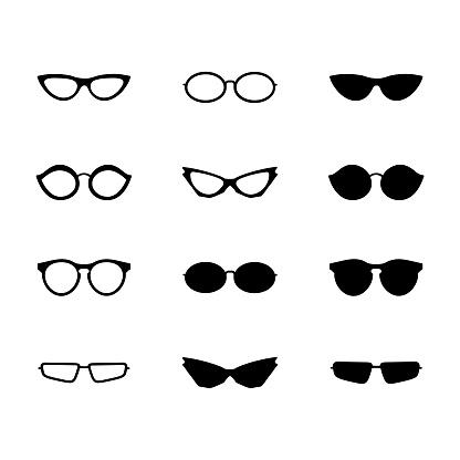 Sunglasses and glasses icon set, white background