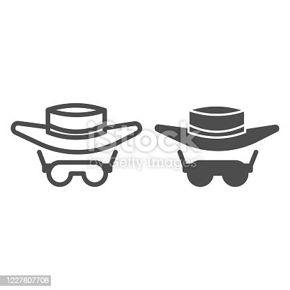 Sunglasses and hat line and solid icon, Summer concept, summer sun protection clothes sign on white background, Men hat and retro sun glasses icon in outline style for mobile and web. Vector graphics