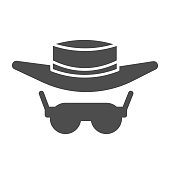 Sunglasses and hat solid icon, Summer concept, summer sun protection clothes sign on white background, Men hat and retro sun glasses icon in glyph style for mobile and web. Vector graphics