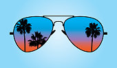 Vector illustration of a pair of sunglasses with palm trees and twilight sky reflected on the lens against a blue background.