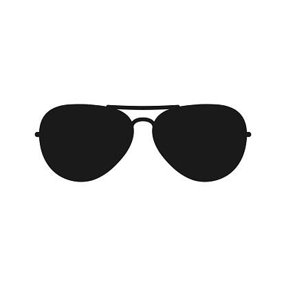 Sunglasses black vector silhouette.
