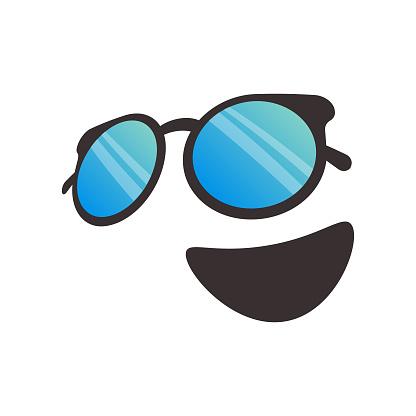 Sunglasses emoticon poster design