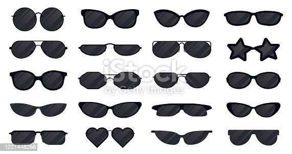 Sunglasses eyewear. Glasses silhouette, sun elegant eyewear, black plastic spectacles. Sun lens eyewear vector illustration icons set. Item protection from sun, eyewear lens collection