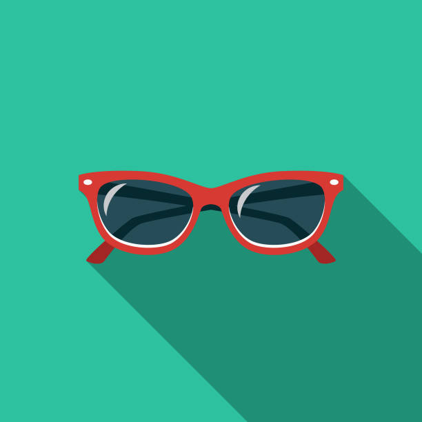 Sunglasses Flat Design Travel & Vacation Icon A flat design styled travel and vacation icon with a long side shadow. Color swatches are global so it's easy to edit and change the colors. sunglasses stock illustrations