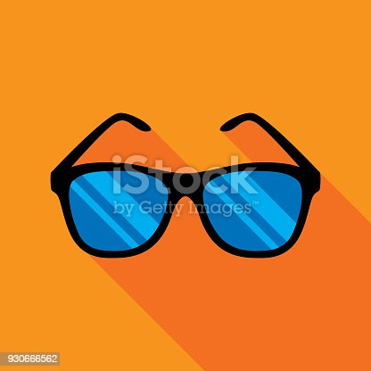 Vector illustration of a pair of sunglasses against an orange background in flat style.