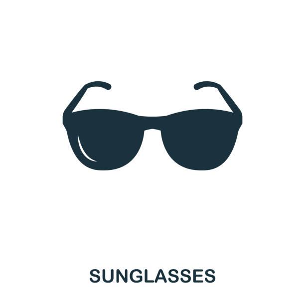 선글라스 아이콘입니다. 모바일 응용 프로그램, 인쇄, 웹 사이트 아이콘입니다. 단순 요소는 노래. 흑백 선글라스 아이콘 그림입니다. - 선글라스 stock illustrations