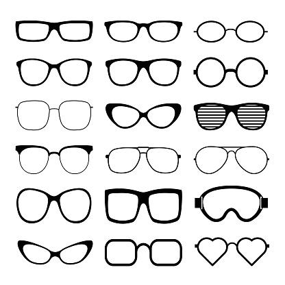 Sunglasses icon set vector template.
