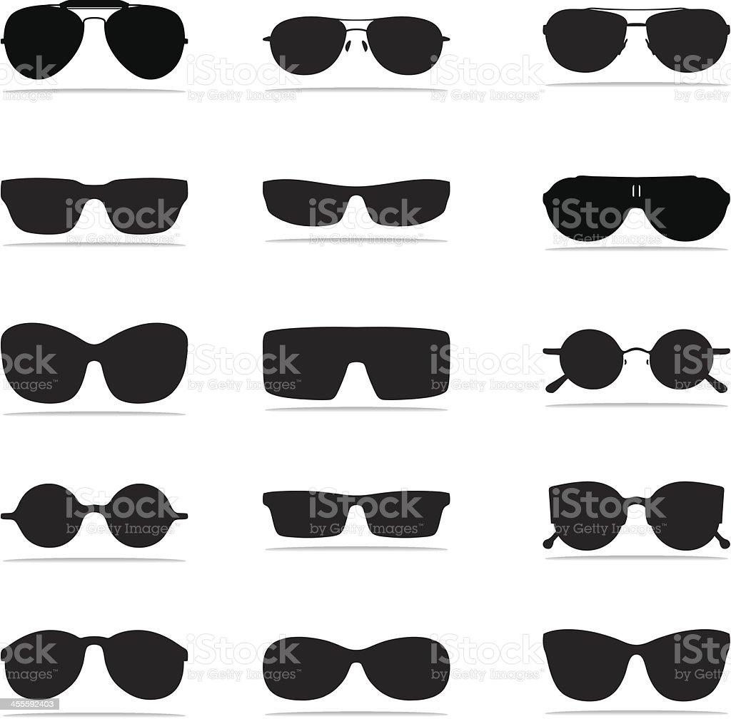 Sunglasses Icon Silhouettes vector art illustration