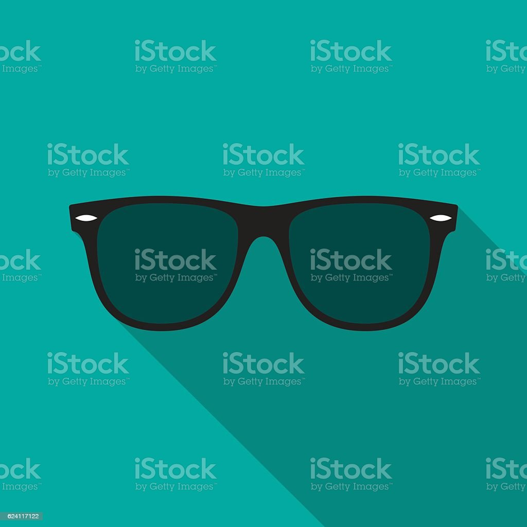 Sunglasses icon with long shadow. vector art illustration