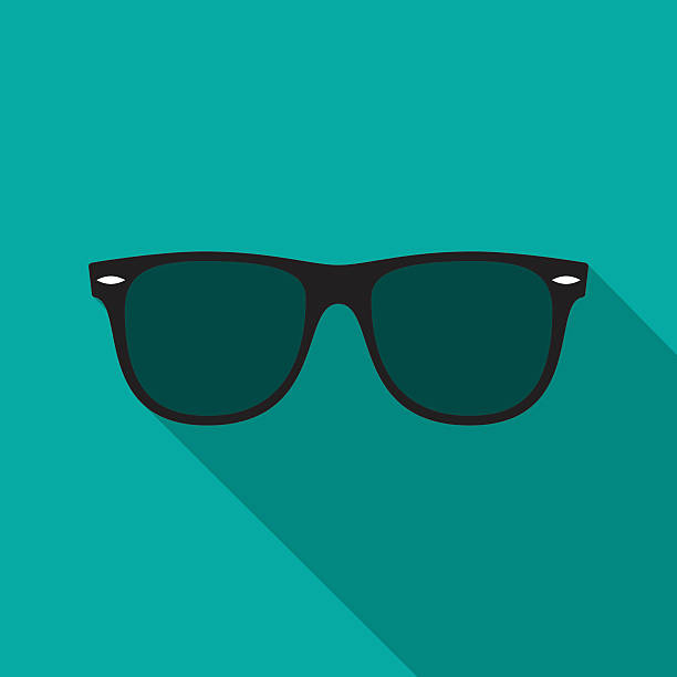 sunglasses icon with long shadow. - sunglasses stock illustrations, clip art, cartoons, & icons