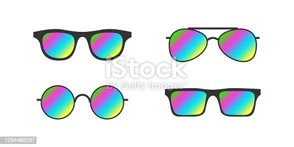 Sunglasses. Modern Sunglasses set. Fashion accessories. Vivid multicolor abstract gradient. Vector illustration