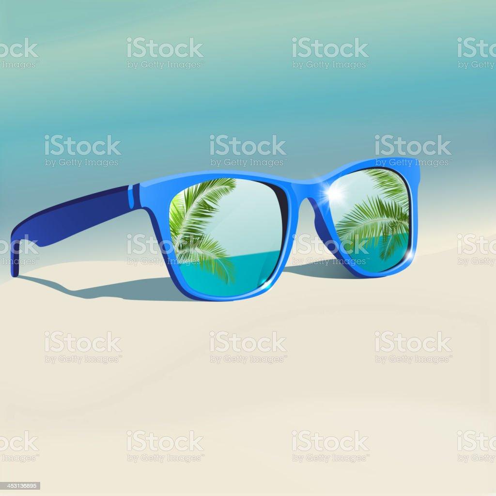 Sunglasses reflection vector art illustration