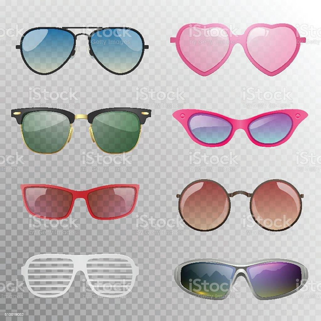 Sunglasses set vector art illustration
