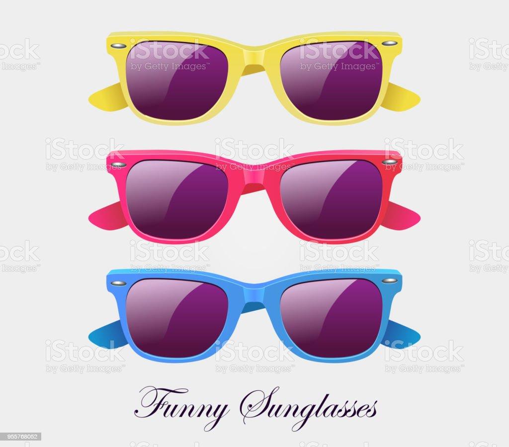 Lunettes de soleil définir multicolore forme wayfarer isolé - illustration  vectorielle lunettes de soleil définir multicolore 69a4089cfbb4