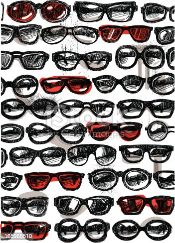 Image shows different sunglasses with sketchy style; vectorimage with only one layer, without opening shapes and gradients; big jpeg (350DPI); digital drawing with free wild style; fantasy drawing; you can delete the colour fill behind the black drawing; the black color-layer was closed