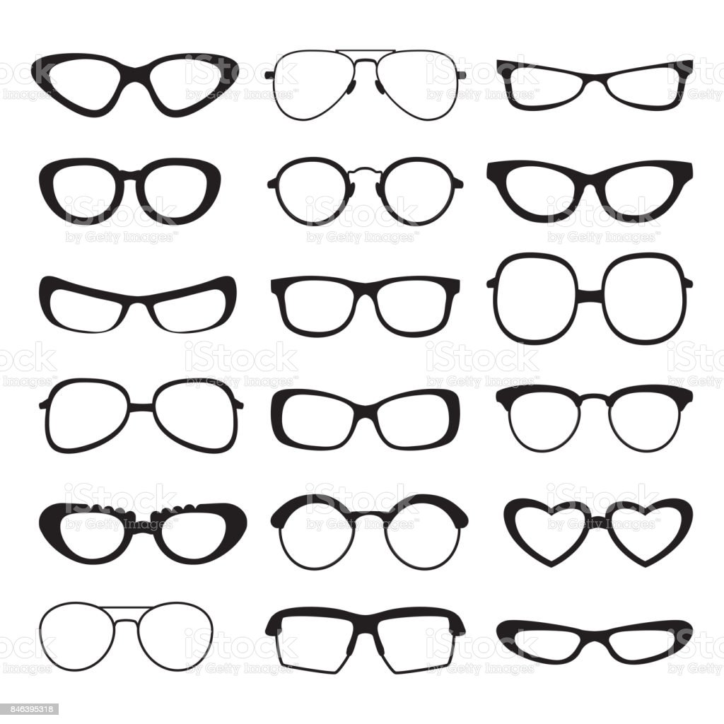 Sunglasses silhouette of different types and sizes . Vector pictures isolated vector art illustration