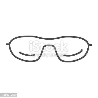Sunglasses thin line icon, summer accessories concept, glasses sign on white background, eyeglasses icon in outline style for mobile concept and web design. Vector graphics