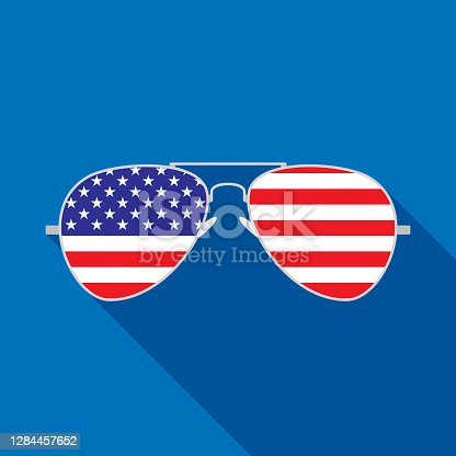 Vector illustration of aviator sunglasses with USA flag against a blue background in flat style.