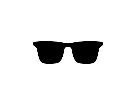 Sunglasses vector icon. Isolated Dark Sunglasses black symbol - Vector