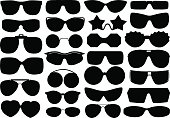 Different sunglasses isolated
