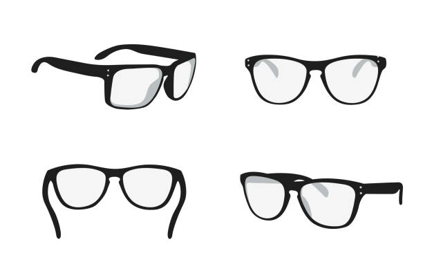 sunglasses view from different sides - okulary stock illustrations