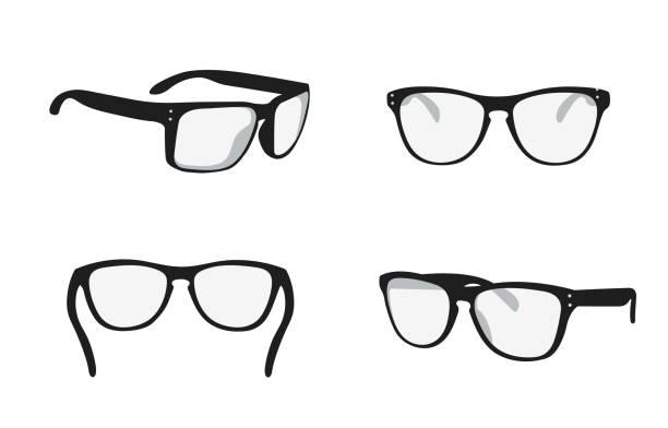sonnenbrille von verschiedenen seiten - brille stock-grafiken, -clipart, -cartoons und -symbole