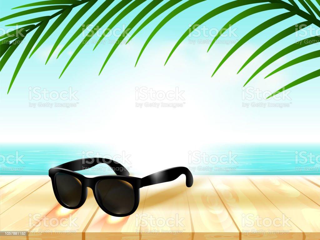 De Fondo Del Sol Ilustración Playa Gafas Con La Luz Y CroedBx