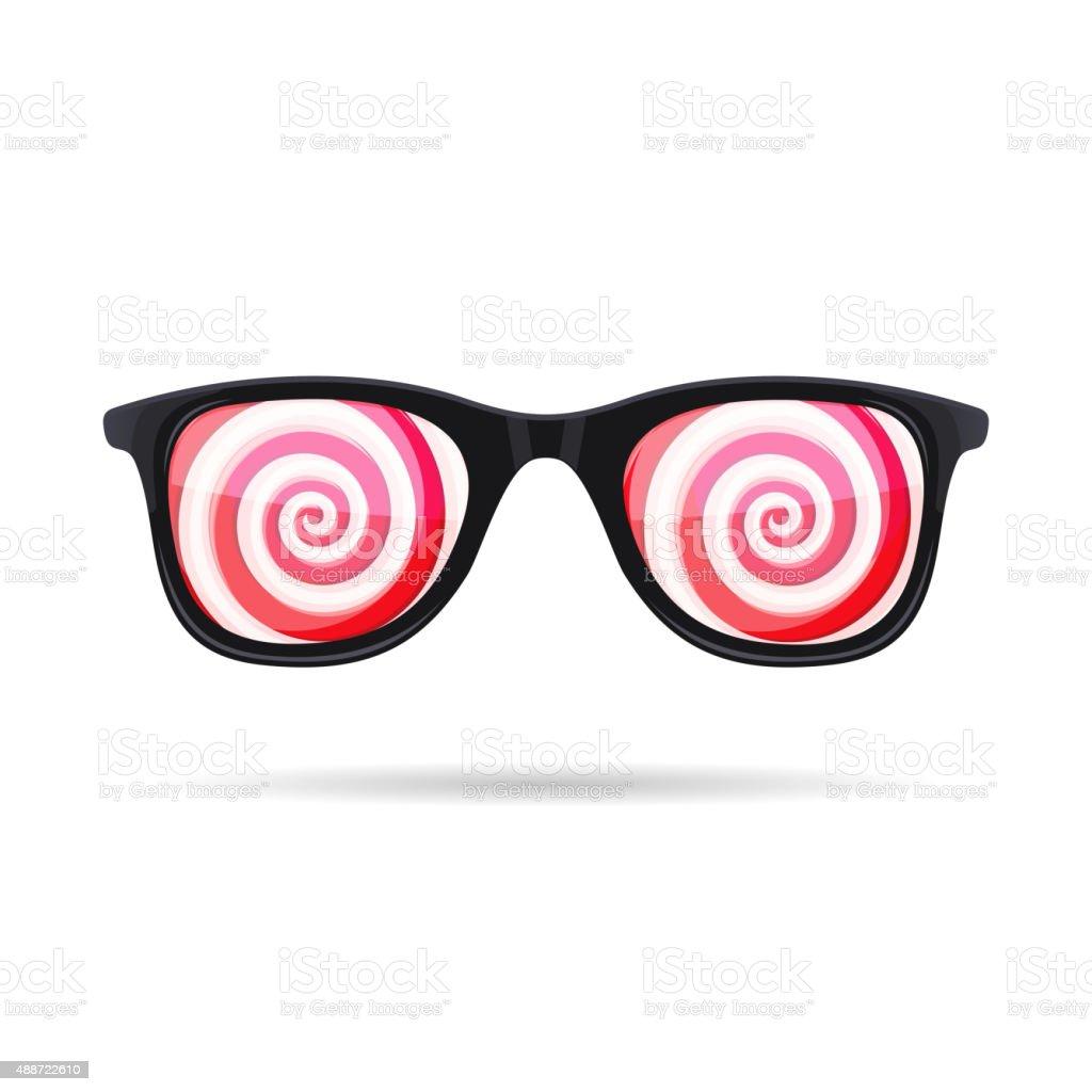 Sunglasses with Hypnotic Spirals onWhite Background. Vector vector art illustration