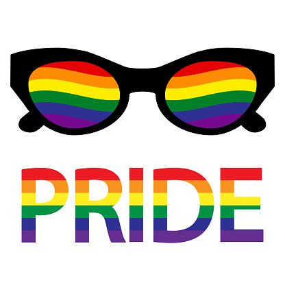Sunglasses with LGBT transgender flag. Gay Pride. LGBT community. Equality and self-affirmation. Sticker, patch, T-shirt print, logo design. Vector illustration