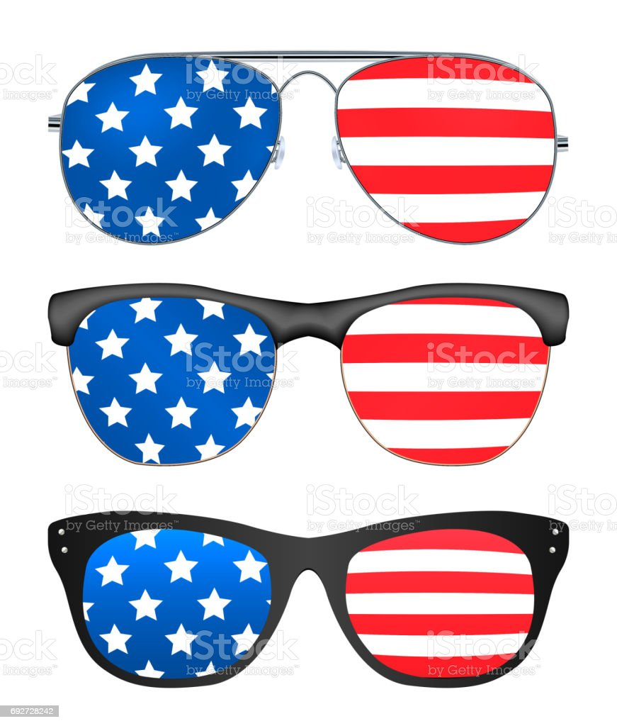 sunglasses with united states of america flag vector art illustration