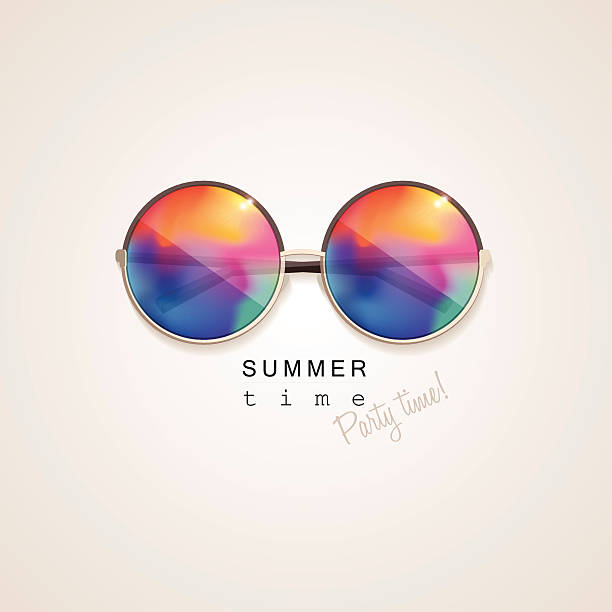 sunglasses with vivid multicolored abstract gradient mesh glass mirrors - sunglasses stock illustrations, clip art, cartoons, & icons