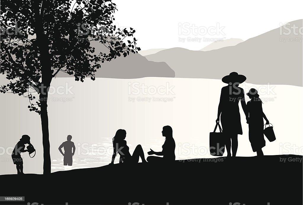 Sunhats'n Lake Vector Silhouette royalty-free stock vector art