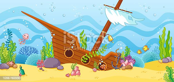 Sunken ship at the bottom of the sea. Vector illustration with a sailboat in cartoon style.